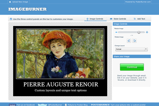 Upload and edit your photos at Imageburner