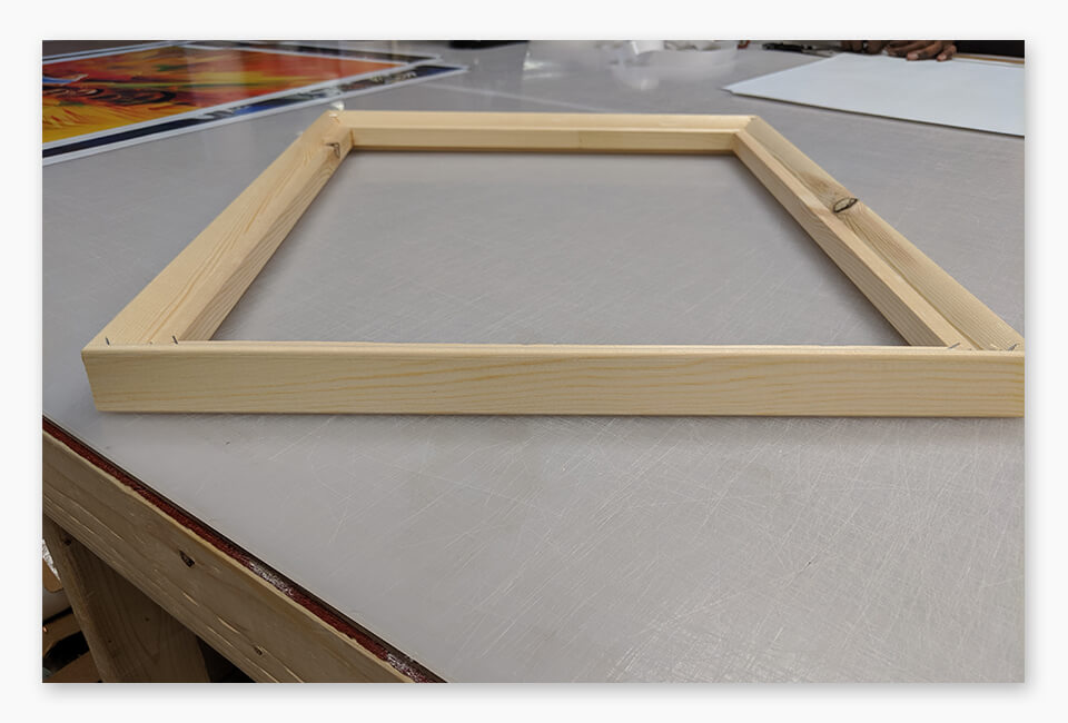 Canvas gallery stretcher frame.